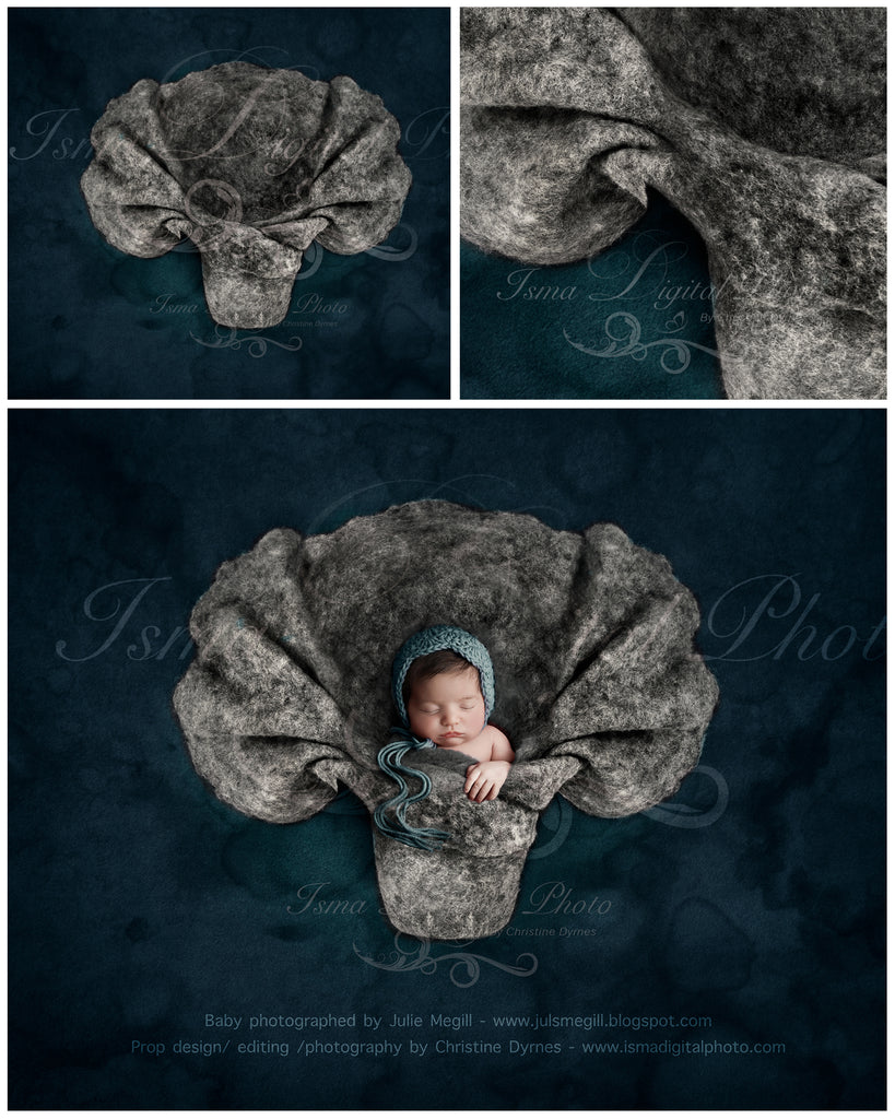 Newborn felted wool bed 2 - Digital backdrop /background - psd with layers
