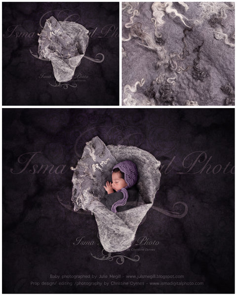 Newborn felted wool bed 3 - Digital backdrop /background - psd with layers