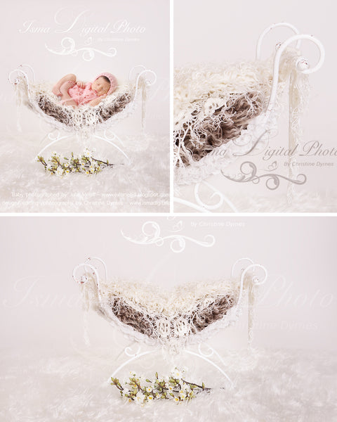 Iron bed chair - Beautiful Digital Newborn  Background - Reduced Price