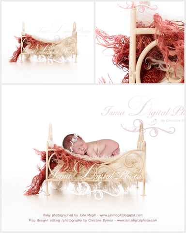 Iron bed with white background - Newborn digital backdrop - psd with layers