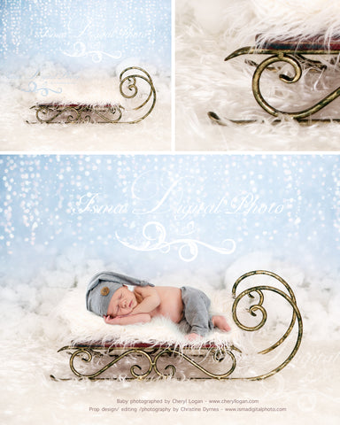 Christmas sled - Newborn digital backdrop - psd with layers