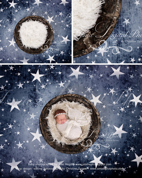 Handmade wooden bowl with star background  - Digital backdrop /background - psd with layers