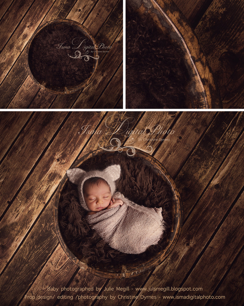 Handmade Wooden Bowl With Wooden Background 1 - Beautiful Digital Newborn Photography Props download  - psd with Layers