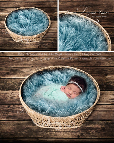 Basket Wooden Floor Whit Turquoise Wool 3 - Beautiful Digital background backdrop Newborn Photography Prop download