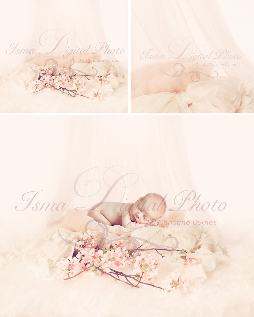 Soft Wool Bed with Flower and Veils - Beautiful Digital background Newborn Photography Props download