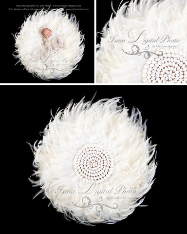 Feather nest, Black babckground whit white feather and sea shells - Digital Newborn Photography Prop