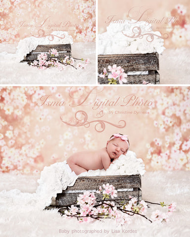Wooden Box With Flowers Background  - Beautiful Digital Newborn Photography Props download