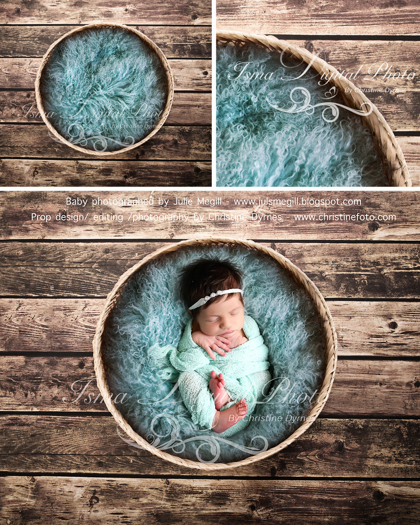 Basket Wooden Floor Whit Turquoise Wool - Beautiful Digital background backdrop Newborn Photography Prop download