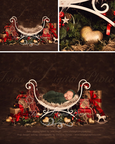 Christmas iron bed chair with dark brown background - Newborn digital backdrop - psd with layers