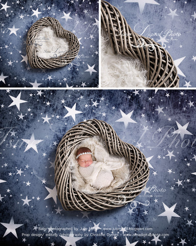 Wooden heart with star background - Beautiful Digital backdrop Newborn Photography Prop download - psd with Layers