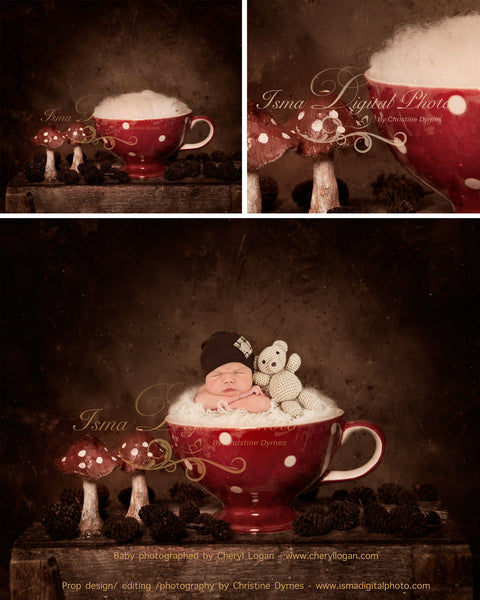 Christmas cup - Digital backdrop /background - psd with layers