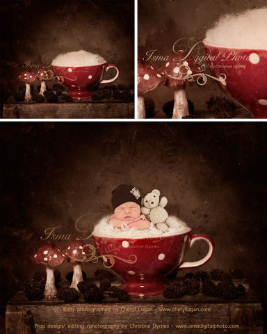 Christmas Cup - Beautiful Digital background Newborn Photography Prop download - psd with Layers and Texture