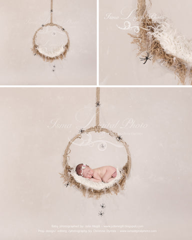 Halloween hanging circle design - Newborn digital backdrop /background - psd with layers