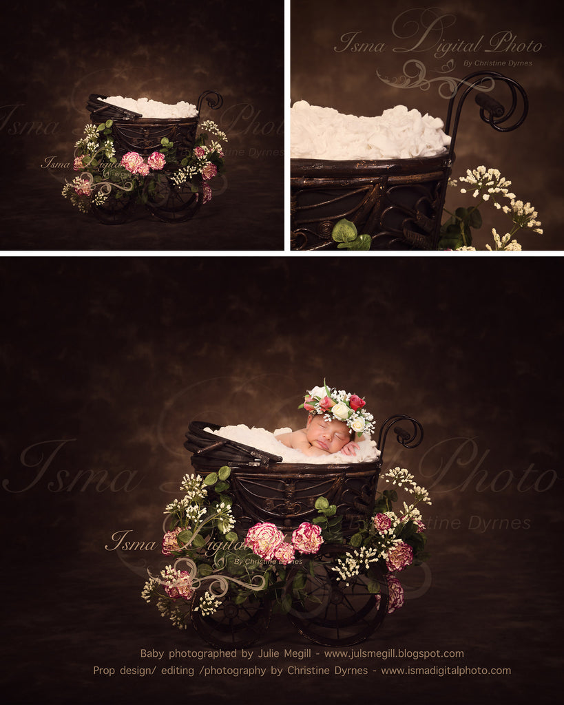 Antique Baby Carriage With Dark Background And Flower Beautiful Digital Background Newborn Photography Prop Download Psd With Layers Isma Digital Pphoto