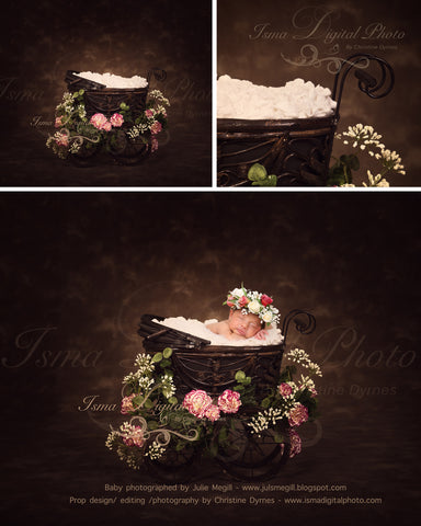Antique Baby Carriage With Dark Background And Flower - Beautiful Digital background Newborn Photography Prop download - psd with Layers