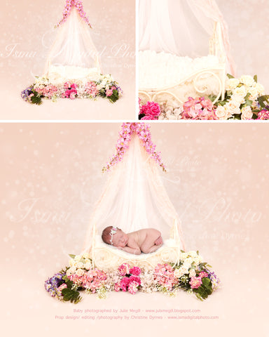 Iron Bed With Flowers And Veils - Beautiful Digital background Newborn Photography Prop download - psd with layers