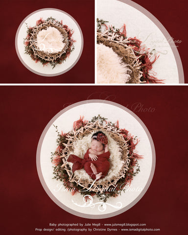 Newborn Christmas nest 9 - Digital backdrop /background - psd with layers