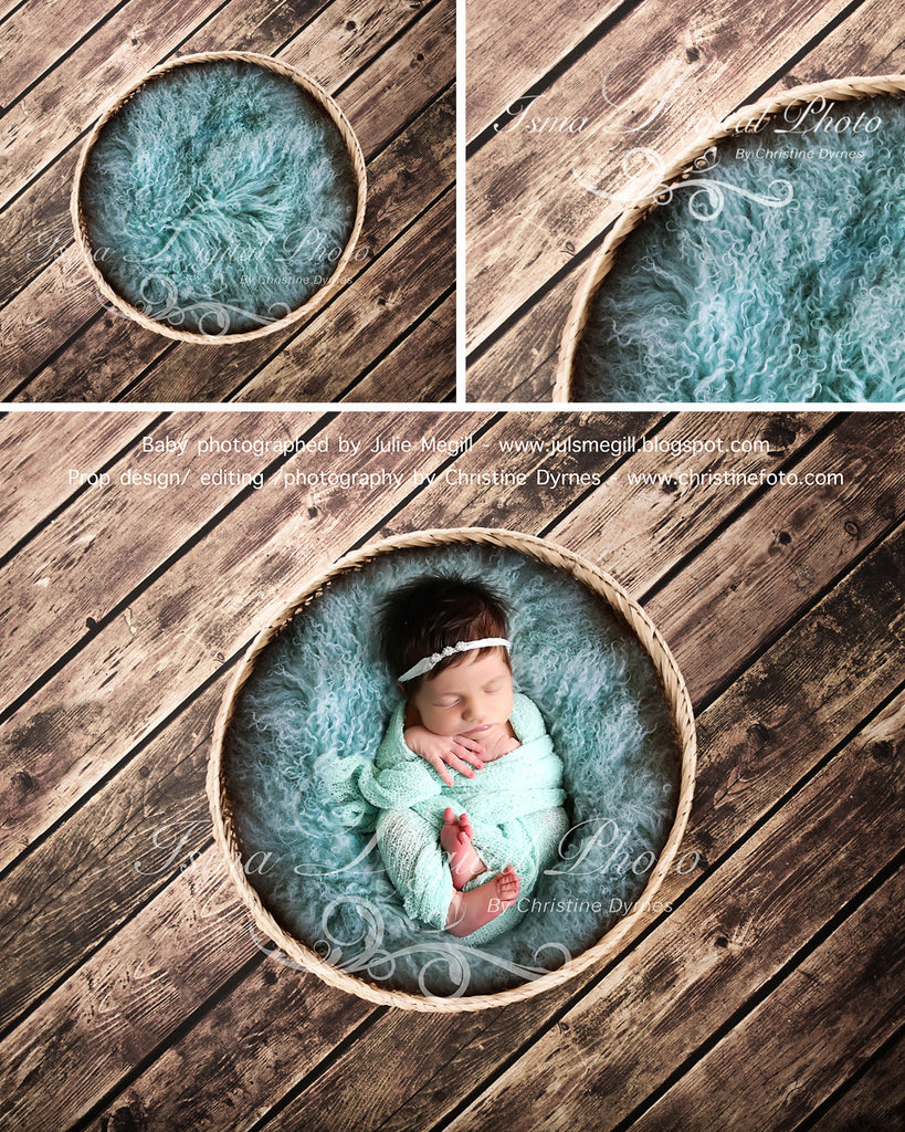 Basket Wooden Floor Whit Turquoise Wool 2 - Beautiful Digital background backdrop Newborn Photography Prop download