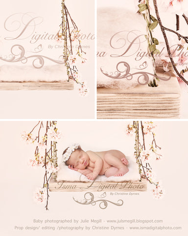 Swing 2 with cherry blossom with wool - Beautiful Digital background Newborn Photography Prop download