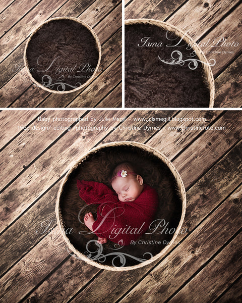 Basket Wooden Floor Whit Brown Wool 2 - Beautiful Digital background backdrop Newborn Photography Prop download