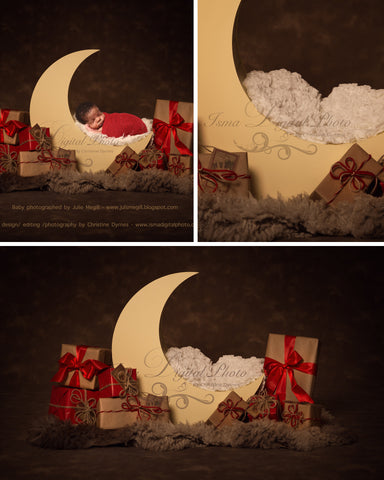 Christmas Moon With Dark Background  - Beautiful Digital background Newborn Photography Prop download - psd with Layers