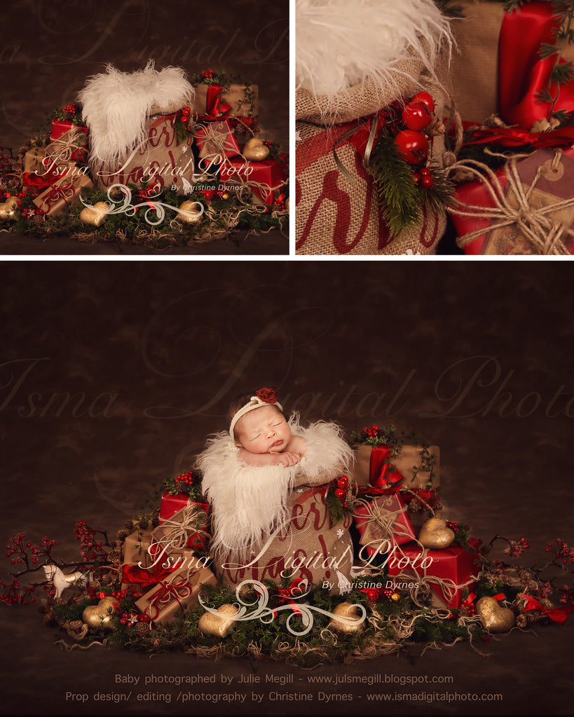 Christmas bag and gifts with dark brown background - Newborn digital backdrop - psd with layers