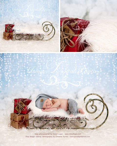 Christmas sled and gifts - Newborn digital backdrop - psd with layers