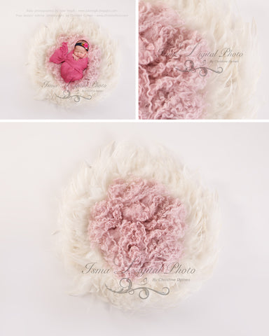 Feather Nest - Light background whit white feather and bright pink wool - Digital Newborn Photography Prop
