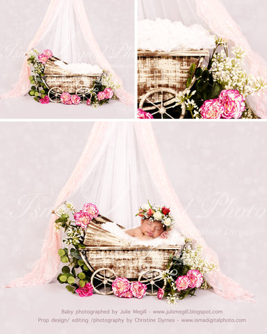 Vintage Stroller With Light Background Veils And Flower - psd file with Layers