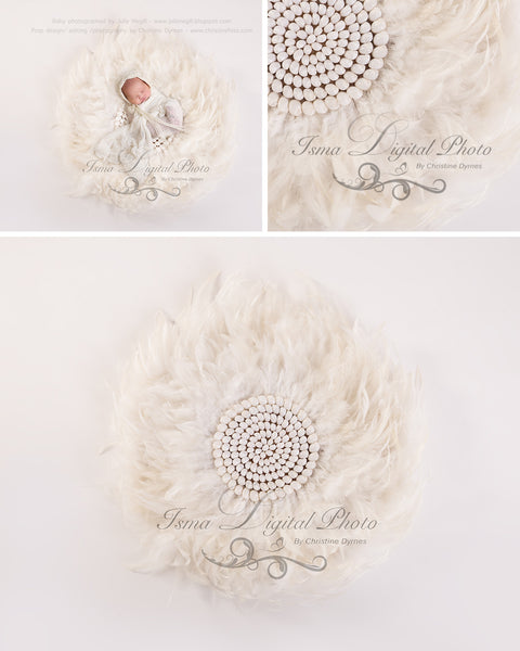 Feather nest, White babckground whit white feather and sea shells - Digital Newborn Photography Prop