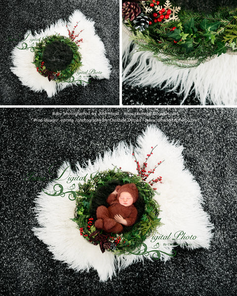 Christmas garland newborn winter feeling - Digital backdrop /background - psd with layers
