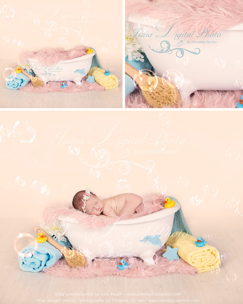 Bathtub with pink blanket - Digital backdrop /background - psd with layers