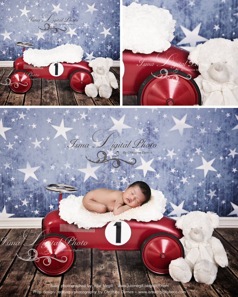 Red toy car with star background and teddy bear - Digital backdrop /background - psd with layers