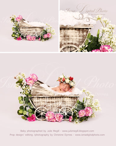 Vintage Stroller With Light Background And Flower - Beautiful Digital background Newborn Photography Prop download - psd with Layers