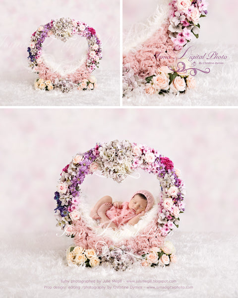 Flower heart with texture - Newborn digital backdrop /background - psd with layers