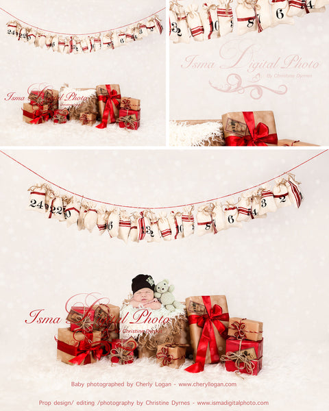 Christmas Gifts - Beautiful Digital background Newborn Photography Prop download - psd with Layers