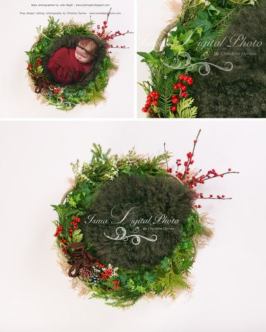 Christmas Garland With Dark Wool And Light Background - Beautiful Digital background Newborn  Prop download - 2 psd file with Layers