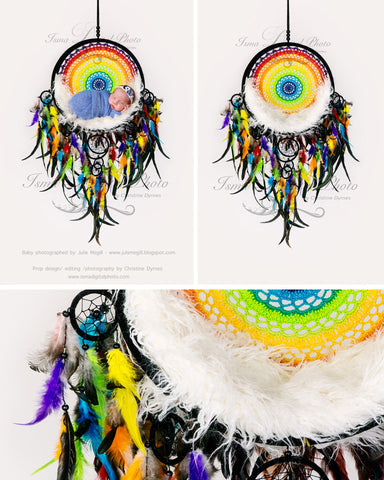 Colorful Dream Catcher With Light Background - Beautiful Digital backdrop Newborn Photography Prop download - psd with Layers