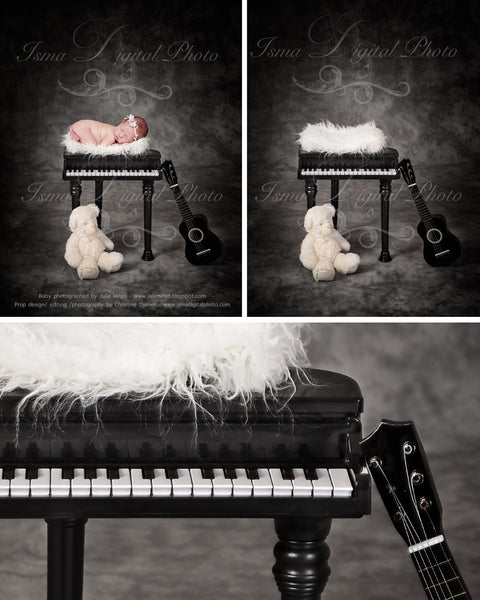 Instrument props - piano and guitar - Digital backdrop /background - psd with layers