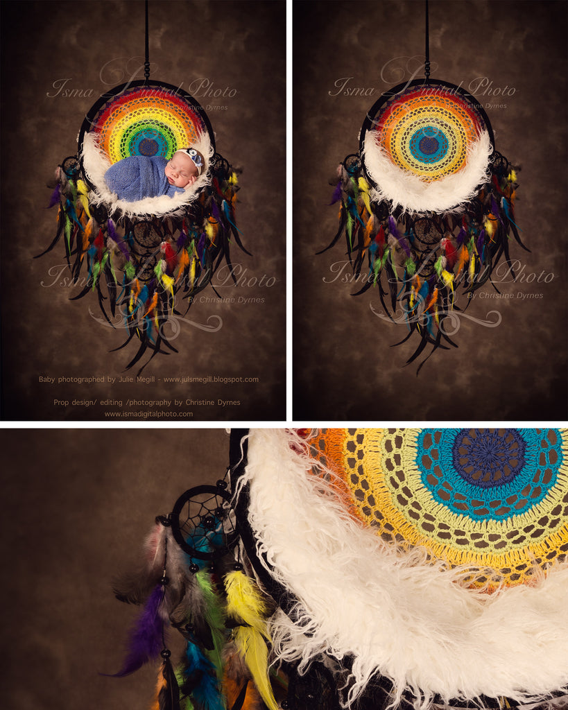 Colorful dreamcatcher - Digital backdrop /background - psd with layers