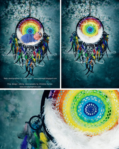 Colorful dreamcatcher with blue texture background - Digital photography backdrop /props for newborn photography - psd with layers