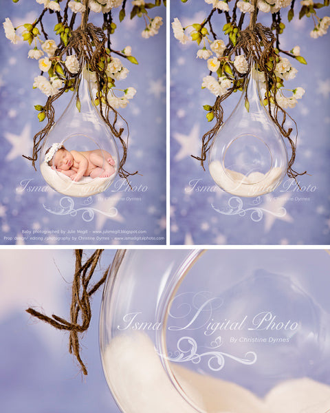 Glass Bowl With Star Background - Beautiful Digital Newborn Photography Props download