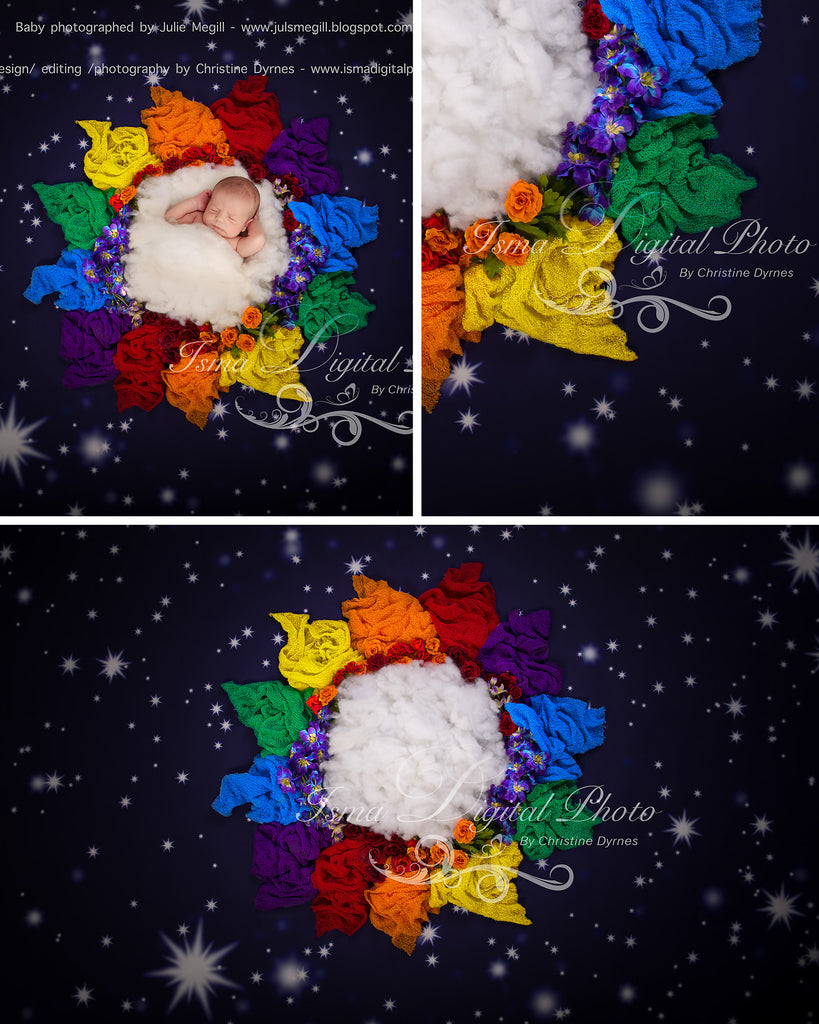 Rainbow baby flower and stars - Digital backdrop /background - psd with layers