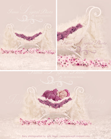 Iron Bed Chair with flower 2 - Beautiful Digital background backdrops Newborn Photography Props download