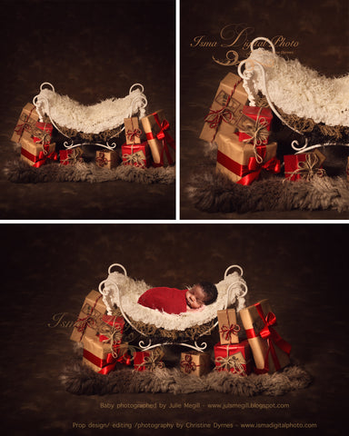 Christmas Iron Bed Chair Gifts With Dark Background 2 - Beautiful Digital background Newborn Photography Prop download - psd with Layers