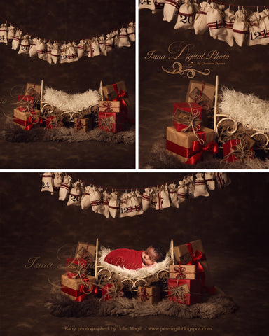 Christmas Iron Bed Gifts With Dark Background - Beautiful Digital background Newborn Photography Prop download - psd with Layers