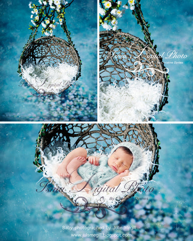 Hanging Twine Circles Bowl With Blue Background and Texture - Beautiful Digital background backdrop download