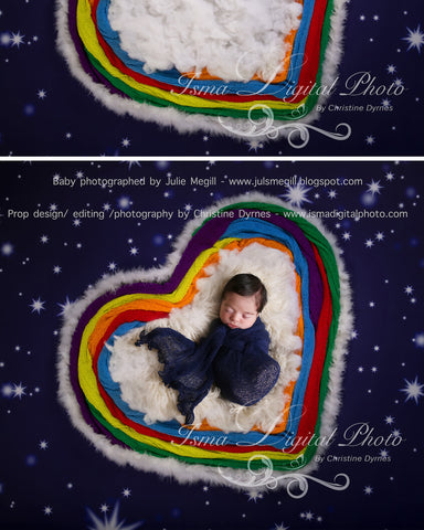 Rainbow Baby Heart And Stars - Digital background backdrop Newborn Photography Prop download - psd file with Layers