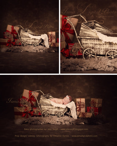 Christmas Vintage Stroller - Beautiful Digital background Newborn Photography Prop download - psd with Layers