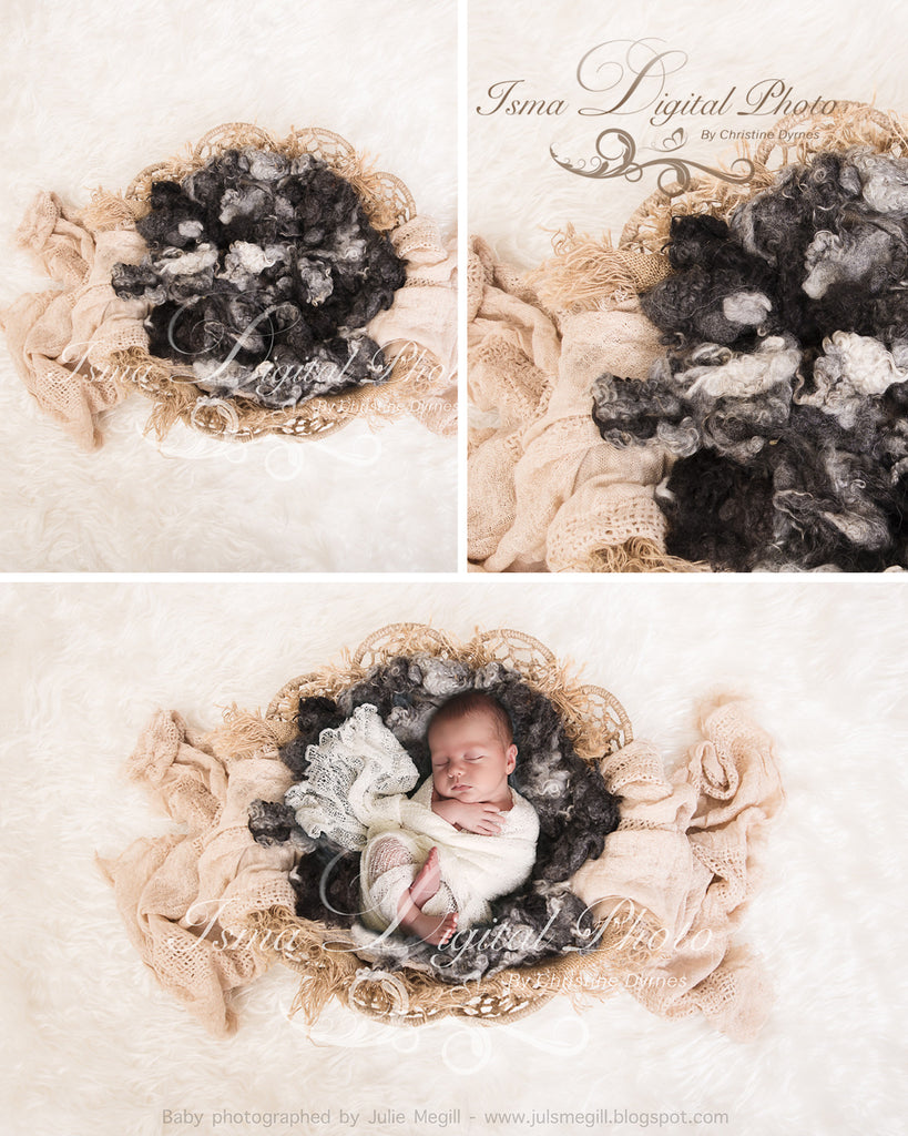 Twine Circles Bowl With Wool - Beautiful Digital background backdrop Newborn Photography Prop download - Psd file with layers